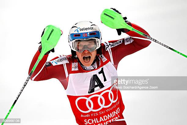 Henrik Kristoffersen of Norway takes 1st place during the Audi FIS Alpine Ski World Cup Men's Slalom on January 26 2016 in Schladming Austria