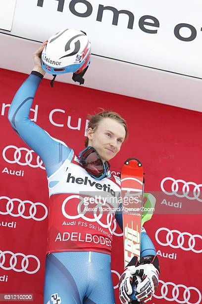 Henrik Kristoffersen of Norway takes 1st place during the Audi FIS Alpine Ski World Cup Men's Slalom on January 08 2017 in Adelboden Switzerland