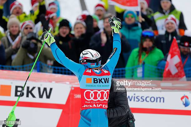 Henrik Kristoffersen of Norway takes 1st place during the Audi FIS Alpine Ski World Cup Men's Slalom on January 15 2017 in Wengen Switzerland