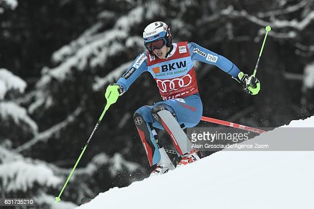Henrik Kristoffersen of Norway takes 1st place during the Audi FIS Alpine Ski World Cup Men's Slalom on January 15 2017 in Wengen Switzerland