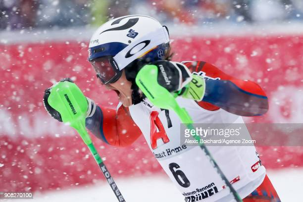 Henrik Kristoffersen of Norway takes 1st place during the Audi FIS Alpine Ski World Cup Men's Slalom on January 21 2018 in Kitzbuehel Austria