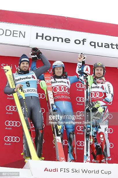 Henrik Kristoffersen of Norway takes 1st place Manfred Moelgg of Italy takes 2nd place Marcel Hirscher of Austria takes 3rd place during the Audi FIS...