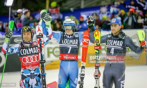 Henrik Kristoffersen of Norway takes 1st place Marcel Hirscher of Austria takes 2nd place Stefano Gross of Italy takes 3rd place during the Audi FIS...