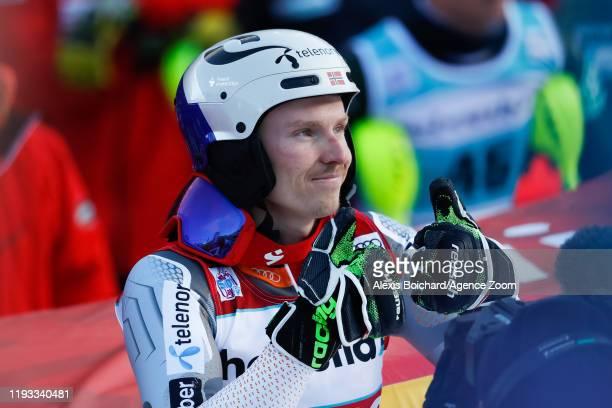 Henrik Kristoffersen of Norway takes 2nd place during the Audi FIS Alpine Ski World Cup Men's Slalom on January 12 2020 in Adelboden Switzerland
