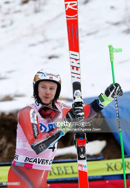 Henrik Kristoffersen of Norway takes 2nd place during the Audi FIS Alpine Ski World Cup Men's Giant Slalom on December 3 2017 in Beaver Creek Colorado