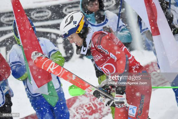 Henrik Kristoffersen of Norway takes 2nd place during the Audi FIS Alpine Ski World Cup Men's Slalom on December 10 2017 in Vald'Isere France