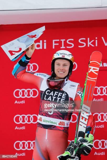 Henrik Kristoffersen of Norway takes 2nd place during the Audi FIS Alpine Ski World Cup Men's Giant Slalom on December 17 2017 in Alta Badia Italy