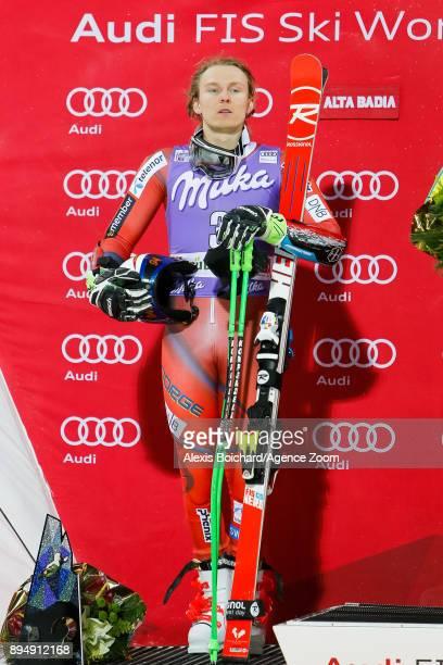 Henrik Kristoffersen of Norway takes 2nd place during the Audi FIS Alpine Ski World Cup Men's Parallel Giant Slalom on December 18 2017 in Alta Badia...