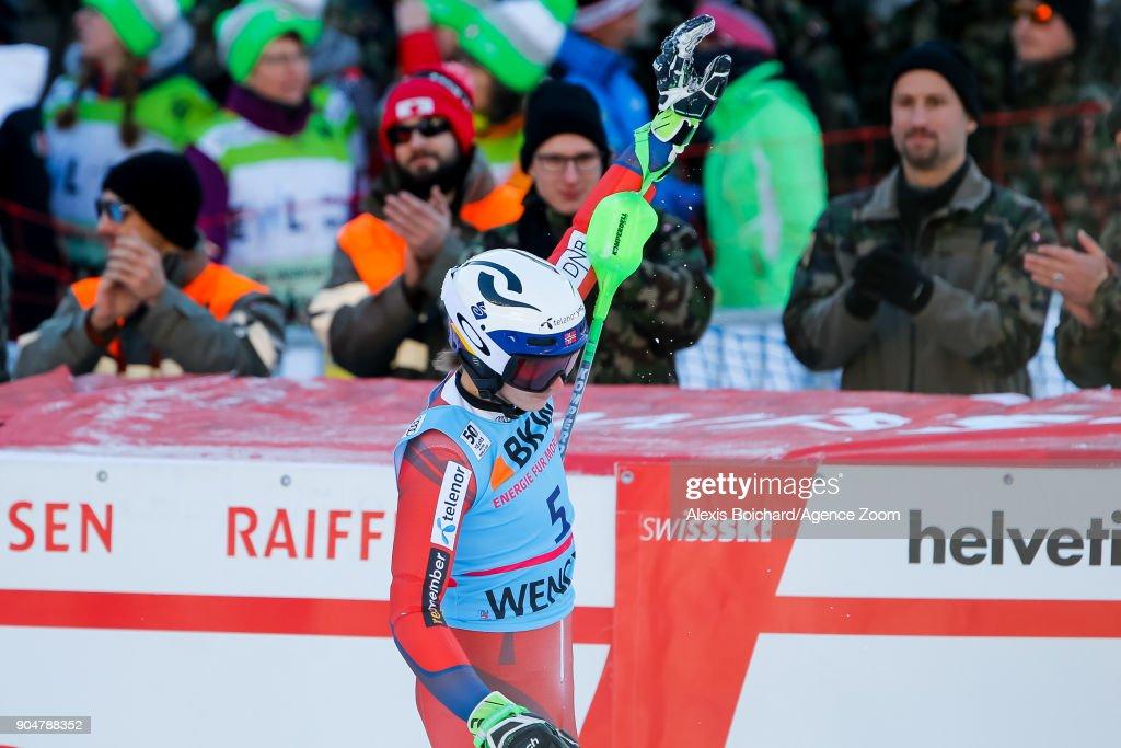 Henrik Kristoffersen of Norway takes 2nd place during the Audi FIS Alpine Ski World Cup Men's Slalom on January 14, 2018 in Wengen, Switzerland.