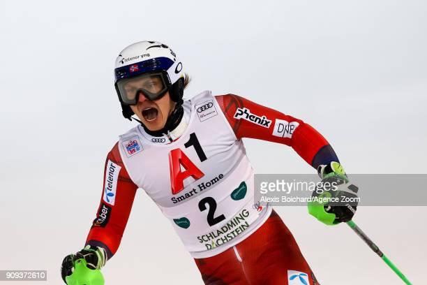 Henrik Kristoffersen of Norway takes 2nd place during the Audi FIS Alpine Ski World Cup Men's Slalom on January 23 2018 in Schladming Austria