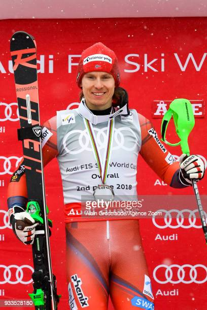 Henrik Kristoffersen of Norway takes 2nd place in the overall standings during the Audi FIS Alpine Ski World Cup Finals Men's Slalom on March 18 2018...