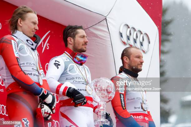 Henrik Kristoffersen of Norway takes 2nd place in the overall standings Marcel Hirscher of Austria wins the globe in the overall standings Aksel Lund...