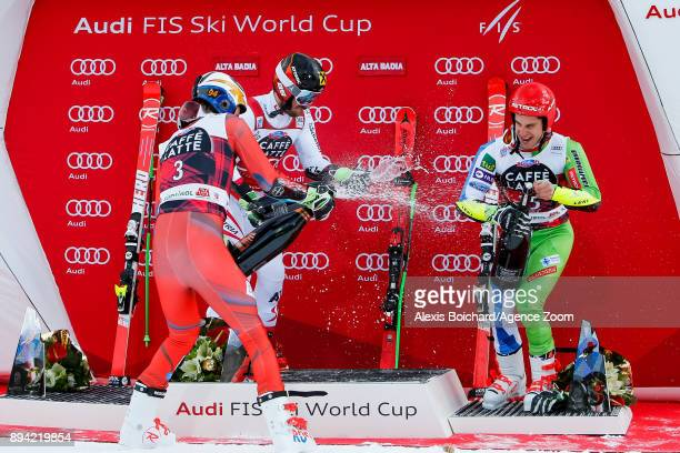 Henrik Kristoffersen of Norway takes 2nd place Marcel Hirscher of Austria takes 1st place Zan Kranjec of Slovenia takes 3rd place during the Audi FIS...