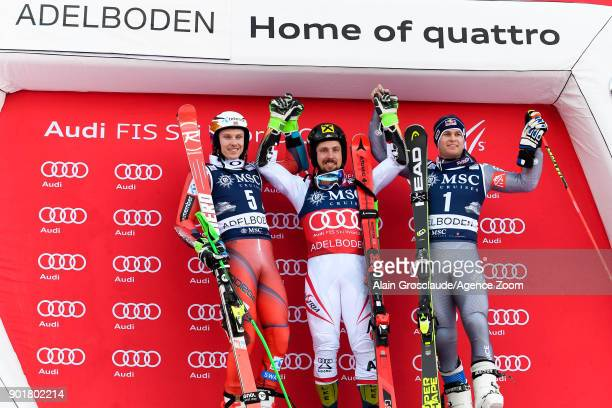Henrik Kristoffersen of Norway takes 2nd place Marcel Hirscher of Austria takes 1st place Alexis Pinturault of France takes 3rd place during the Audi...