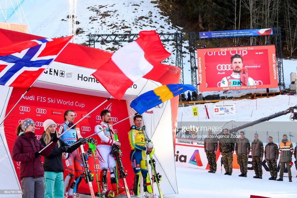 Henrik Kristoffersen of Norway takes 2nd place, Marcel Hirscher of Austria takes 1st place, Andre Myhrer of Sweden takes 3rd place during the Audi FIS Alpine Ski World Cup Men's Slalom on January 14, 2018 in Wengen, Switzerland.