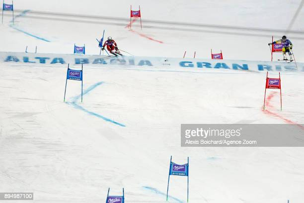 Henrik Kristoffersen of Norway takes 2nd place, Matts Olsson of Sweden takes 1st place during the Audi FIS Alpine Ski World Cup Men's Parallel Giant...