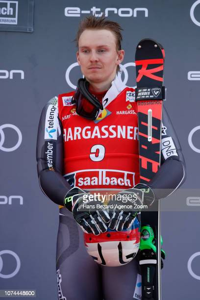Henrik Kristoffersen of Norway takes 3rd place during the Audi FIS Alpine Ski World Cup Men's Slalom on December 20 2018 in Saalbach Austria