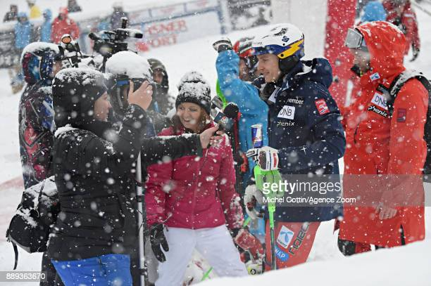Henrik Kristoffersen of Norway takes 3rd place during the Audi FIS Alpine Ski World Cup Men's Slalom on December 10 2017 in Vald'Isere France