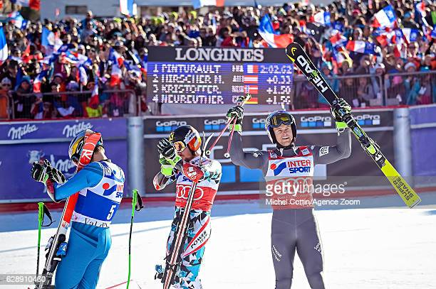 Henrik Kristoffersen of Norway takes 3rd place Marcel Hirscher of Austria takes 2nd place Alexis Pinturault of France celebrates during the Audi FIS...