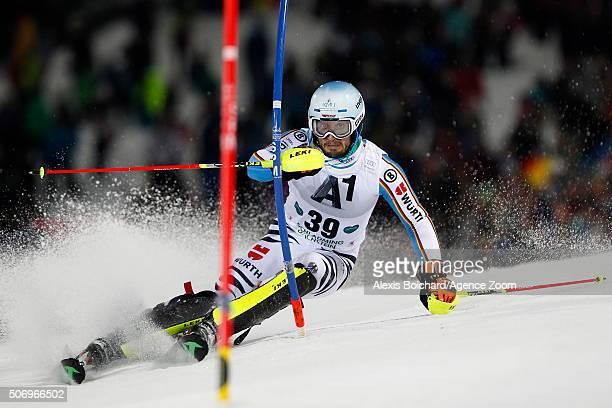 Henrik Kristoffersen of Norway takes the 1st place during the Audi FIS Alpine Ski World Cup Men's Slalom on January 24, 2016 in Kitzbuehel, Austria.