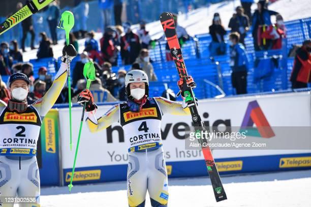 Henrik Kristoffersen of Norway wins the bronze medal during the FIS Alpine Ski World Championships Men's Slalom on February 21, 2021 in Cortina...