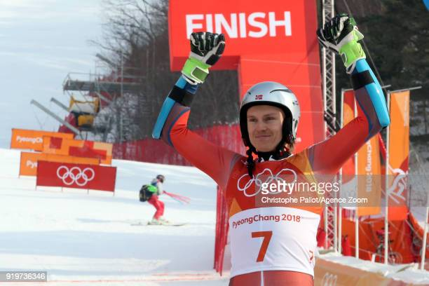 Henrik Kristoffersen of Norway wins the silver medal during the Alpine Skiing Men's Giant Slalom at Yongpyong Alpine Centre on February 18 2018 in...