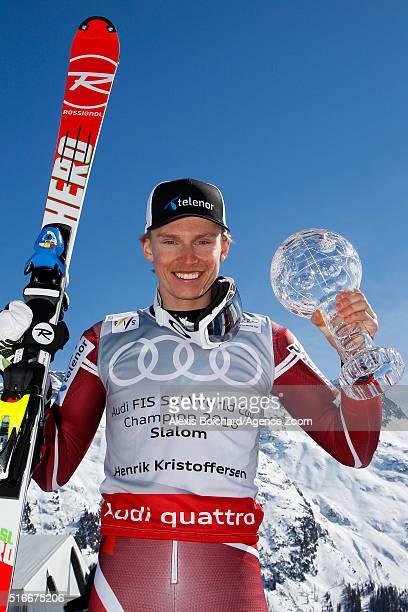 Henrik Kristoffersen of Norway wins the slalom crystal globe during the Audi FIS Alpine Ski World Cup Finals Men's Slalom and Women's Giant Slalom on...