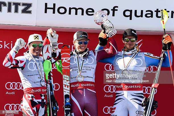 Henrik Kristoffersen of Norway wins the slalom crystal globe Marcel Hirscher of Austria takes 2nd place in the overall slalom standings Felix...
