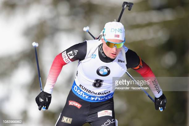 Henrik L'abeeLund of Norway competes at the 10 km Men's Sprint during the IBU Biathlon World Cup at Chiemgau Arena on January 17 2019 in Ruhpolding...