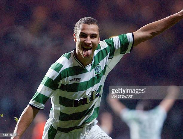 Henrik Larsson celebrates after opening the scoring for Celtic in a UEFA Cup third round match against Valencia in Celtic Park Glasgow 06 December...