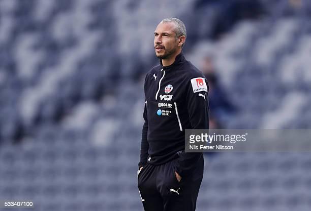 Henrik Larsson head coach of Helsingborgs IF ahead of the Allsvenskan match between Djurgardens IF and Helsingborgs IF at Tele2 Arena on May 22 2016...