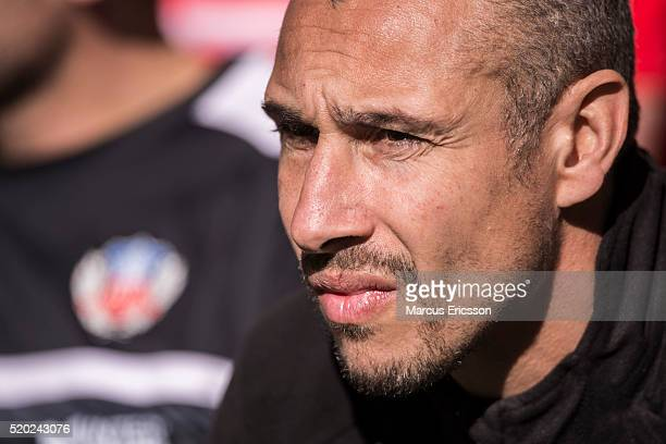 Henrik Larsson head coach of Helsingborgs IF during the Allsvenskan match between Hammarby IF and Helsingborgs IF at Tele2 Arena on April 10 2016 in...