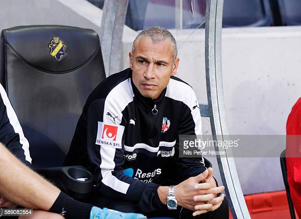 Henrik Larsson head coach of Helsingborgs IF during the allsvenskan match between AIK and Helsingborgs FF at Friends arena on August 13 2016 in Solna...