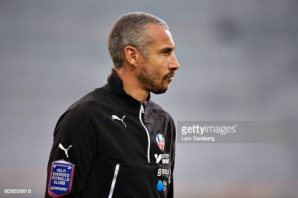 Henrik Larsson head coach of Helsingborgs IF during the Allsvenskan match between Helsingborgs IF and GIF Sundsvall at Olympia Stadium on September...
