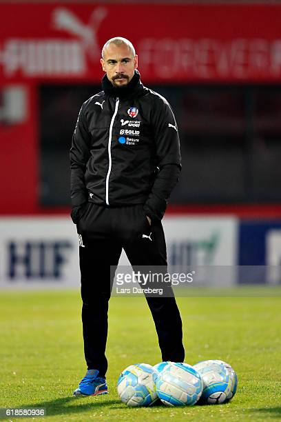 Henrik Larsson head coach of Helsingborgs IF during the Allsvenskan match between Helsingborgs IF and Djurgardens IF at Olympia on October 27 2016 in...