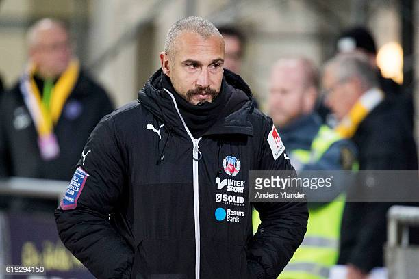 Henrik Larsson head coach of Helsingborgs IF entering the pitch prior to the Allsvenskan match between Falkenbergs FF and Helsingborgs IF at...