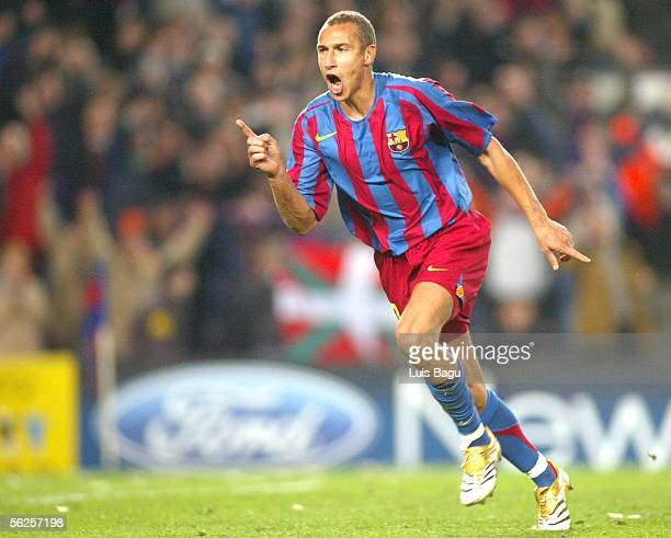 Henrik Larsson of Barcelona celebrates his goal during the UEFA Champions League Group C match between FC Barcelona and Werder Bremen at the Camp Nou...