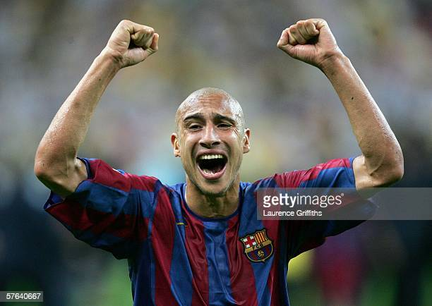 Henrik Larsson of Barcelona celebrates his sides victory in the UEFA Champions League Final between Arsenal and Barcelona at the Stade de France on...