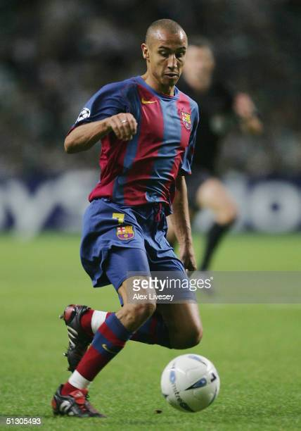 Henrik Larsson of Barcelona during the UEFA Champions League Group F match between Celtic and Barcelona at Celtic Park on September 14 2004 in...