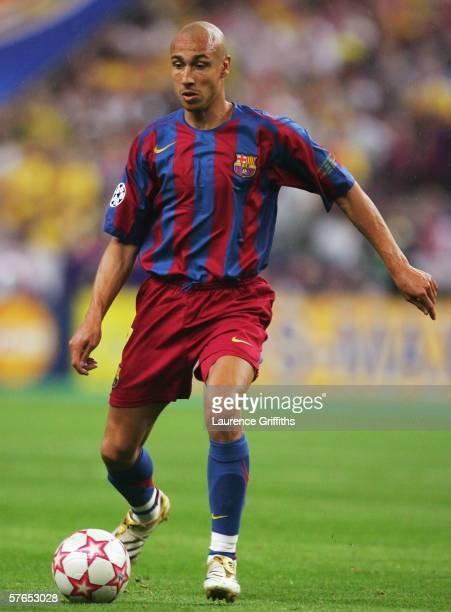 Henrik Larsson of Barcelona in action during the UEFA Champions League Final between Arsenal and Barcelona at the Stade de France on May 17 2006 in...