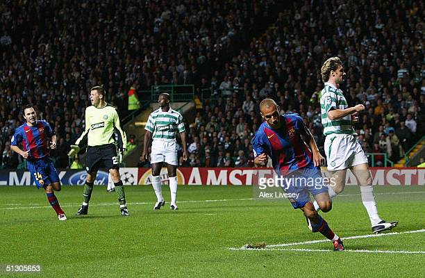 Henrik Larsson of Barcelona turns away after scoring the third goal against Celtic during the UEFA Champions League Group F match between Celtic and...