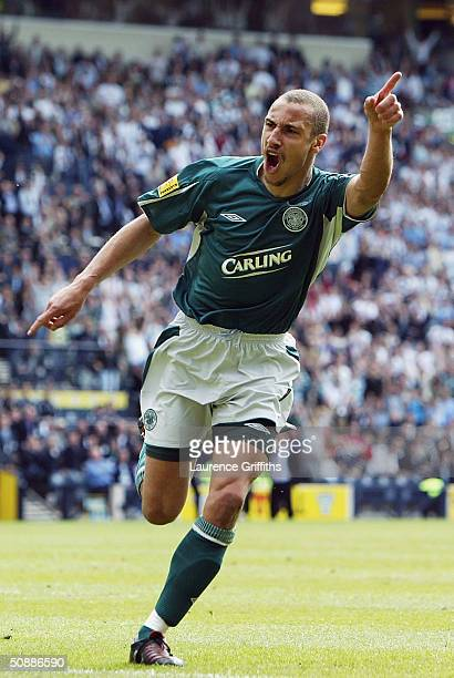 Henrik Larsson of Celtic celebrates scoring the equalising goal during the 119th Scottish Tennents Cup Final between Celtic and Dunfermline held at...