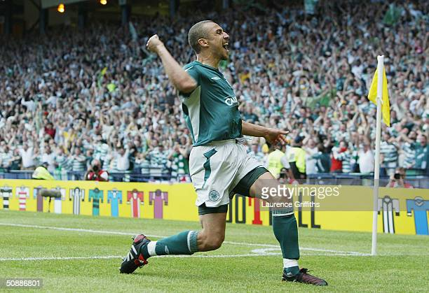 Henrik Larsson of Celtic scores his second goal during the 119th Scottish Tennents Cup Final between Celtic and Dunfermline held at Hampden Park on...