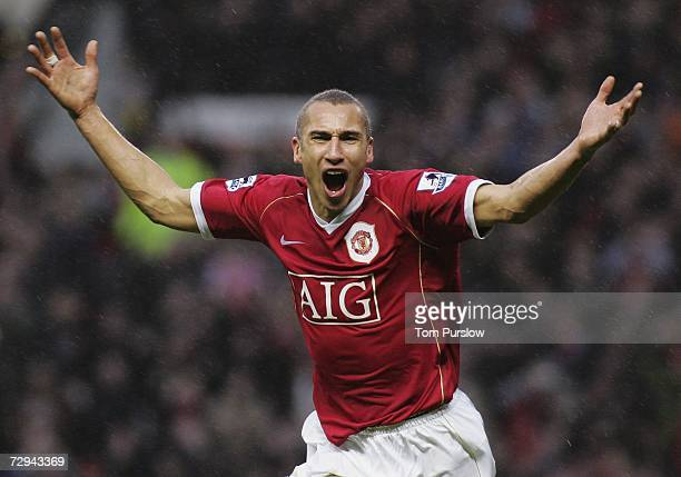 Henrik Larsson of Manchester United celebrates scoring the first goal during the FA Cup sponsored by EON Third Round match between Manchester United...