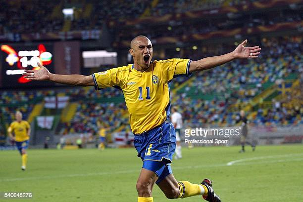 Henrik Larsson of Sweden celebrates scoring his first goal during the UEFA Euro 2004 Group C match between Sweden and Bulgaria at the Estadio Jose...