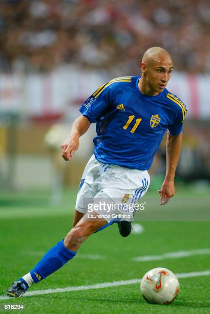 Henrik Larsson of Sweden in action during the 2002 FIFA World Cup First Round Group F match between England v Sweden played at the Saitama Stadium in...