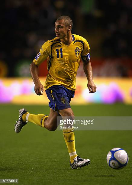 Henrik Larsson of Sweden in action during the FIFA2010 World Cup qualifier Group 1 match between Sweden and Hungary at the Rasunda Stadium on...