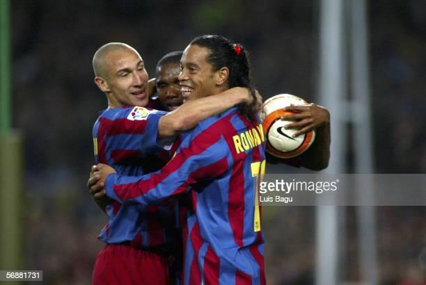 Henrik Larsson Samuel Etoo and Ronaldinho of FC Barcelona celebrate Etoo's goal during the match between FC Barcelona and Real Betis of La Liga on...