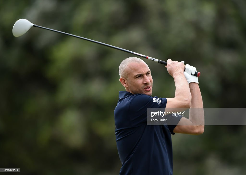 Henrik Larsson tees off from the 10th hole prior to the Commercial Bank Qatar Masters at Doha Golf Club on February 21, 2018 in Doha, Qatar.