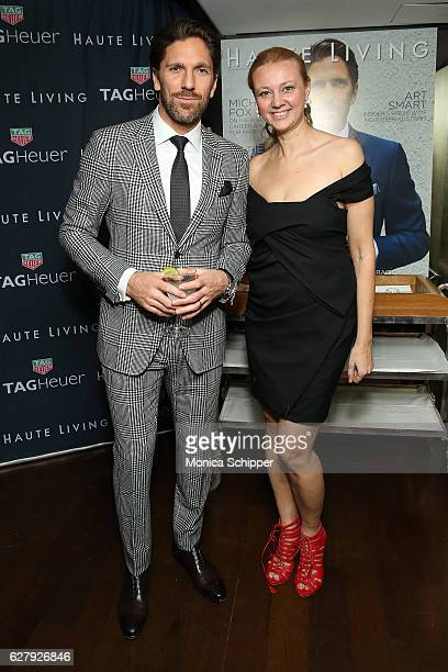 Henrik Lundqvist and Alisa Roever attend the Haute Living Celebrates New York Cover Launch with Henrik Lundqvist and TAG Heuer at Mr Chow on December...